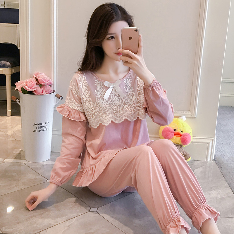 Pajamas, Women's Spring, Autumn, Princess Breeze, Korean Version, Fresh Students' Long Sleeves, Pure Cotton Lace, Two Sets Of Wi