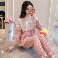 Пижама, Женская Весенняя, осенняя, принцесса Бриз, Корейская версия, свежий студенческий длинный рукав, чистый хлопок кружева, два комплекта wi