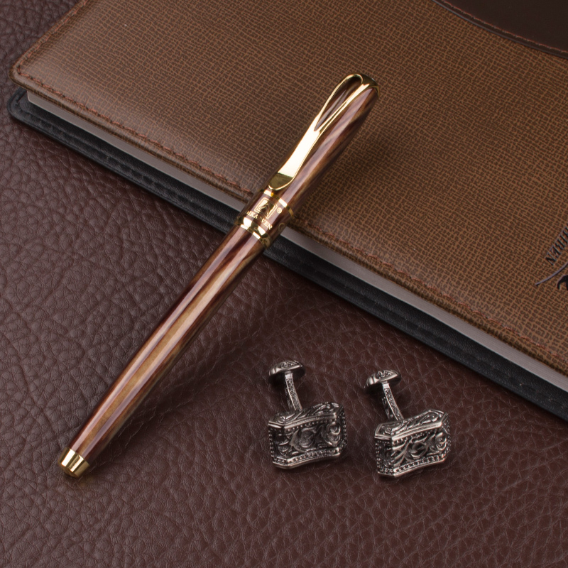 DIKA WEN luxury quality signature office stationery novelty Roller Ball Pen ang cufflinks for mens luxury With Pencil Box dikawen 891 gray gold dragon clip 0 7mm nib office stationery metal roller ball pen pencil box cufflinks for mens luxury