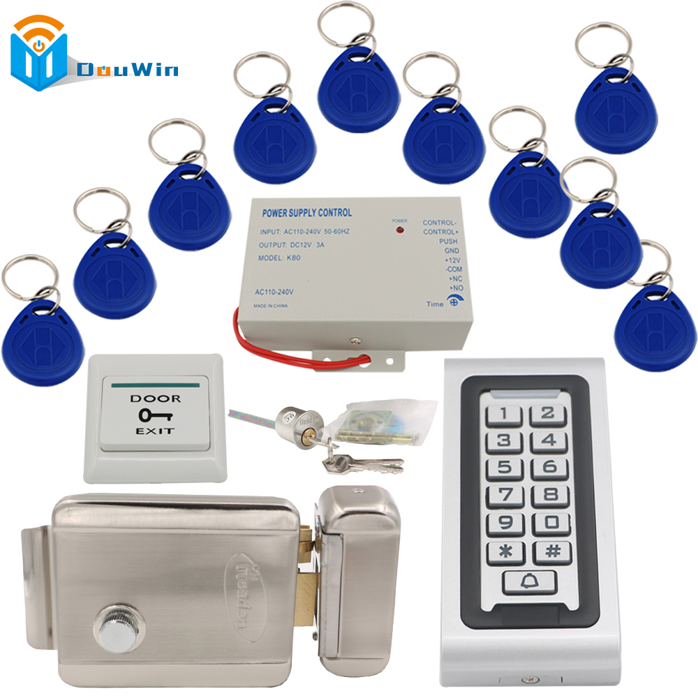 Power supply+RFID Keychain card+Electric Door Locks+601 rfid Card Reader+exit button DIY KIT Access Control Door system Winte rfid waterproof metal control locks with wg26 wg34 input output digital door locks for door access control system 10 keys k82