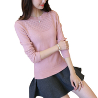 2016 New Arrival Women Sweaters Autumn And Winter Knitwear Cashmere O Neck Hollow Out Pullovers Slim