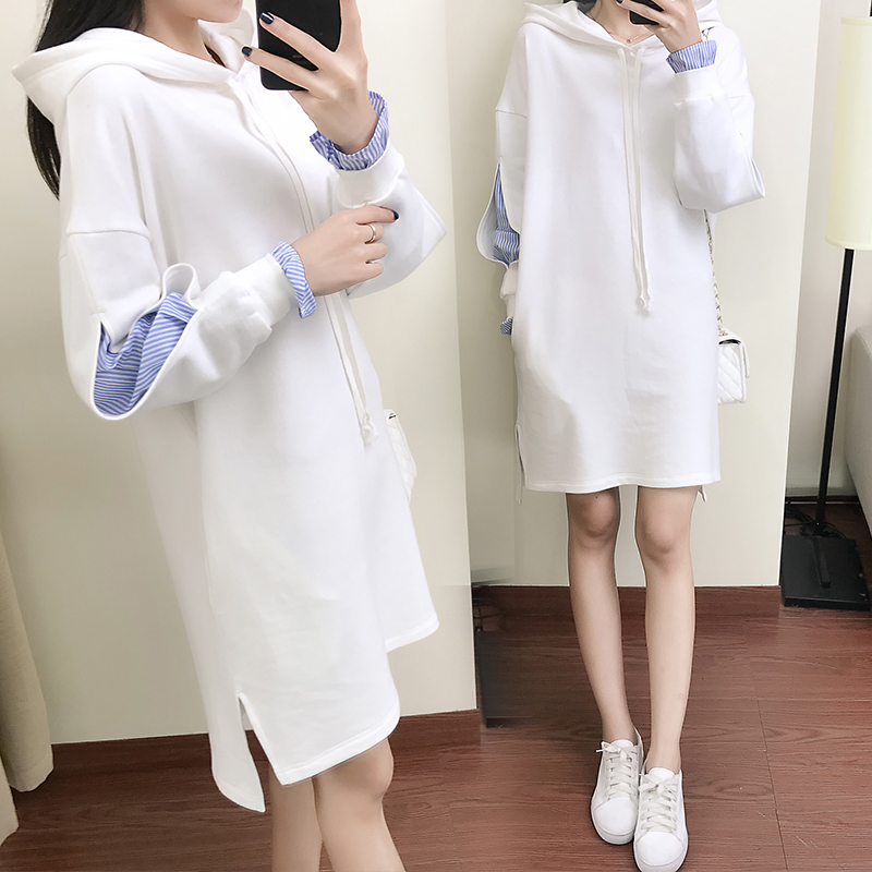 2018 False Two Pieces Hoodies Sweatshirt Women Spring Fall Long Sleeve Hooded Casual Patchwork Pullover Hoodies Dress Femme Z505