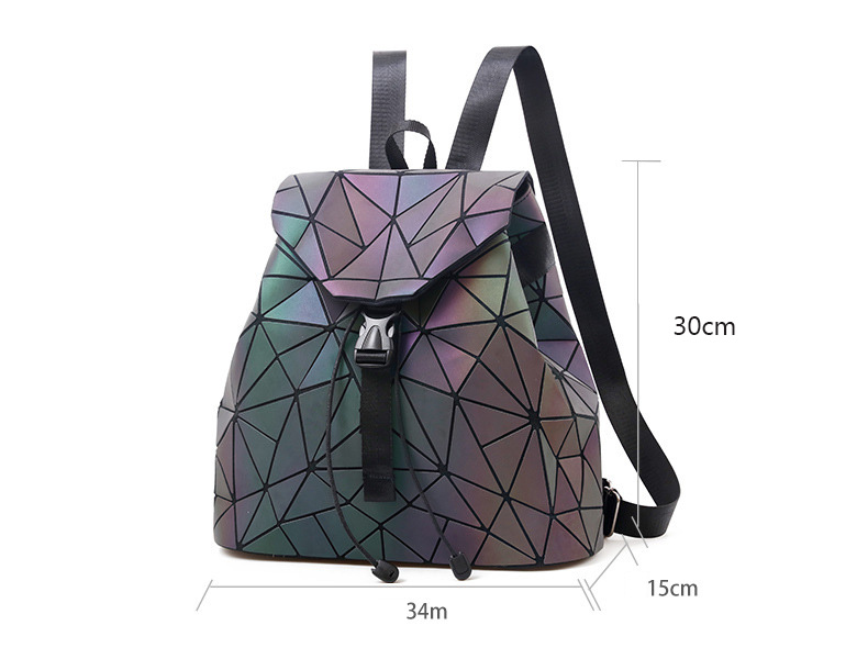 HTB1jdpAVYvpK1RjSZPiq6zmwXXaz Women Backpack Luminous Geometric Plaid Sequin Female Backpacks For Teenage Girls Bagpack Drawstring Bag Holographic Backpack