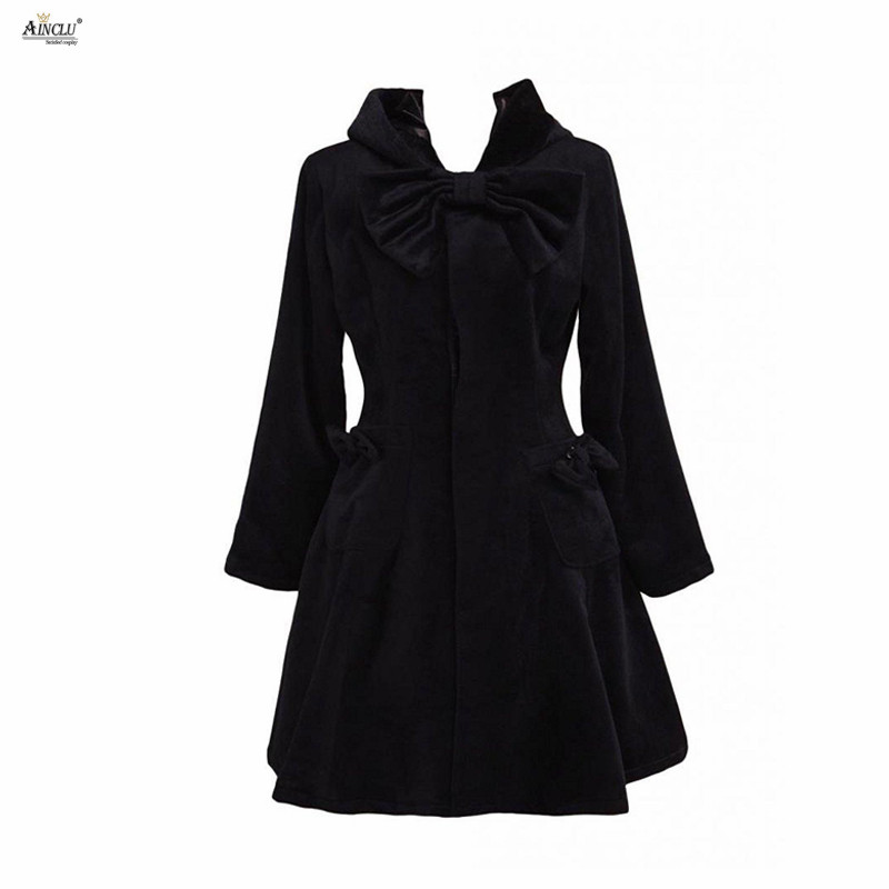 Ainclu XS-XXL Womens Black Wool Bow Long Sleeves Girls's Middle-Long Dress A-line Lolita Outfit/Overcoat for Casual/Party/others
