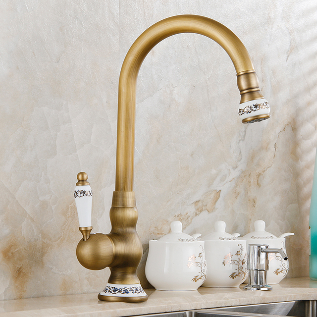 Brass Faucet Kitchen Vintage Table Free Shipping New Style Antique Finish Sink Basin Mixer Tap With