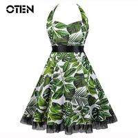 50s60 Dress Vestidos De Festa Women Summer Print Flower Dress Lace Patchwork Formal Vintage Rockabilly Dress