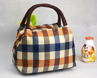 New Fashion Good Quality Canvas Lunch Bag Office Lady Striped Plaid Dots Portable Casual Small Handbag Beach Storage Mom In Bags From Luggage