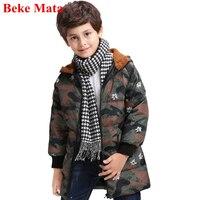 Beke מאטה ילדים למטה מעילי החורף 2017 סלעית בנות ילדים בסגנון ברווז חם למטה צבא חורף מעילי מוצרי הלבשה תחתונה מעילי