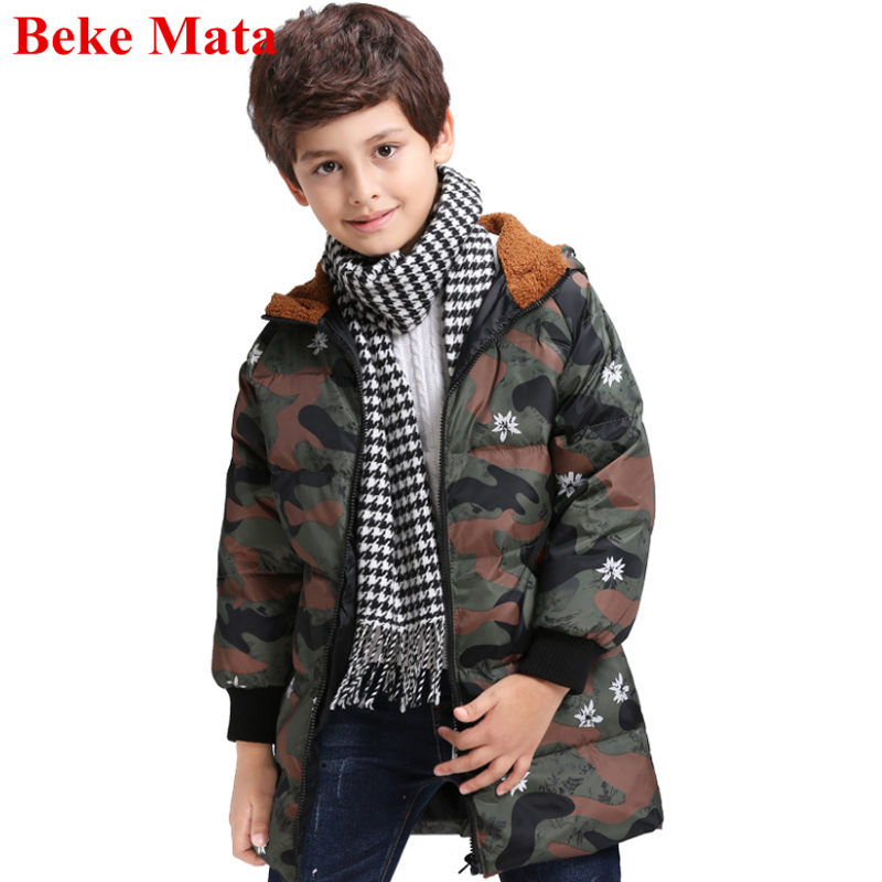 Beke Mata Kids Down Winter Jackets For Boys 2017 Hooded Girls Winter Coats Outerwear Warm Duck Down Army Style Children Jackets buenos ninos thick winter children jackets girls boys coats hooded raccoon fur collar kids outerwear duck down padded snowsuit