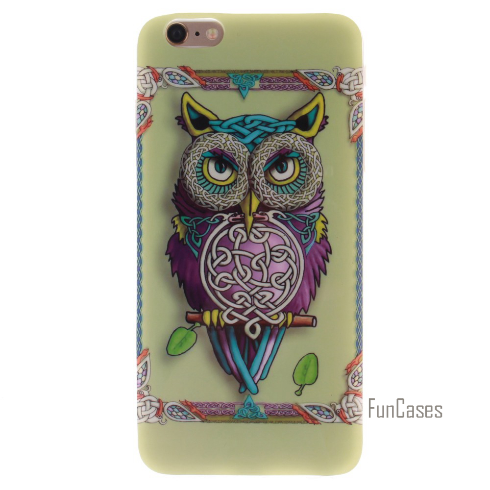 Colourful Painting Style Owl Bird Tiger Lion Sexy Girl Soft TPU Case For Apple iPhone 4 4S 5 5S 5C SE 6 6S Plus Case