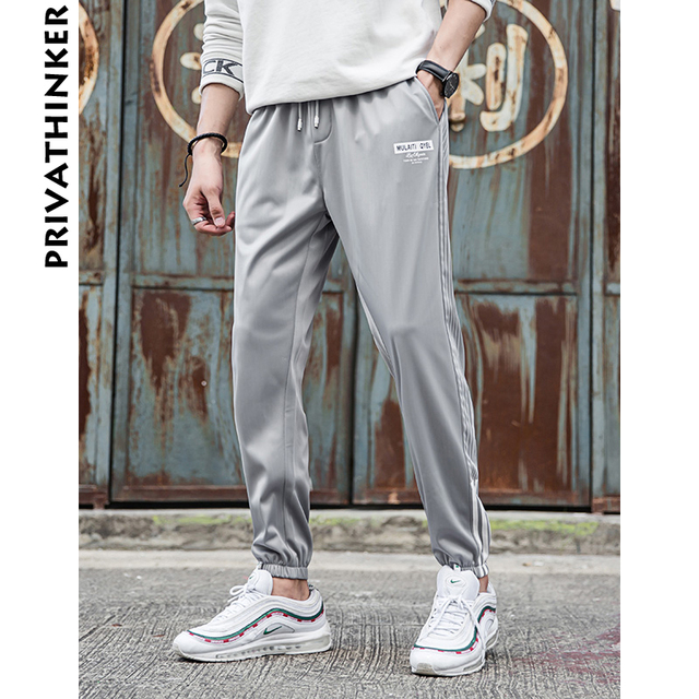 5ed1a5f57f6 Privathinker Men Streetwear Harem Pants 2018 Mens Side Striped Casual Grey  Sweatpants Male Print Korean Fashions Joggers Pants