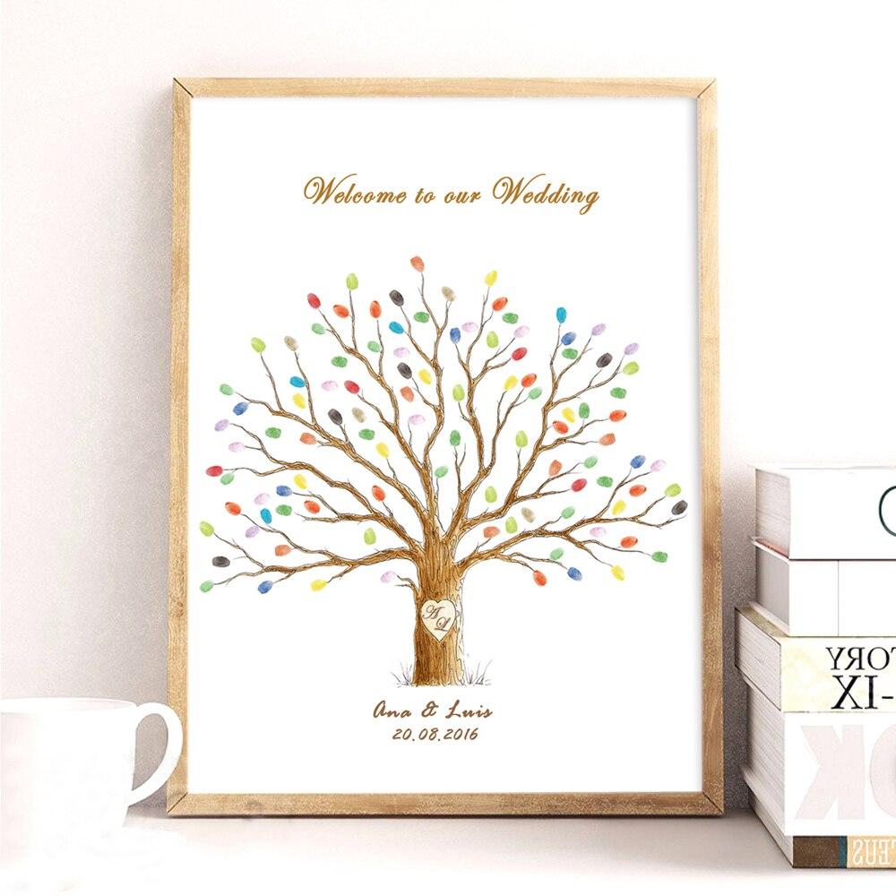 Arbre de mariage, Toile Impression DIY D'empreintes Digitales Signature Livre D'or Pour Le Mariage Baby Shower D'anniversaire, Personnalisé Nom Date Party Decor
