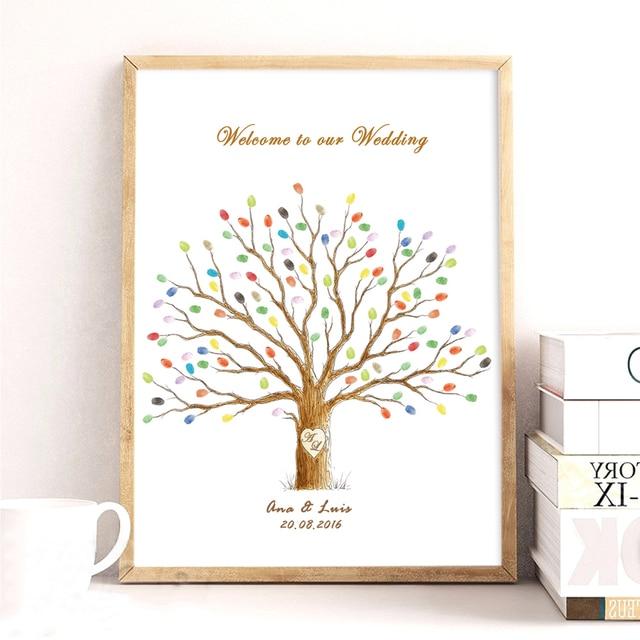 Lieblings Hochzeit Baum, Leinwand Drucken DIY Fingerabdruck Unterschrift #FN_07