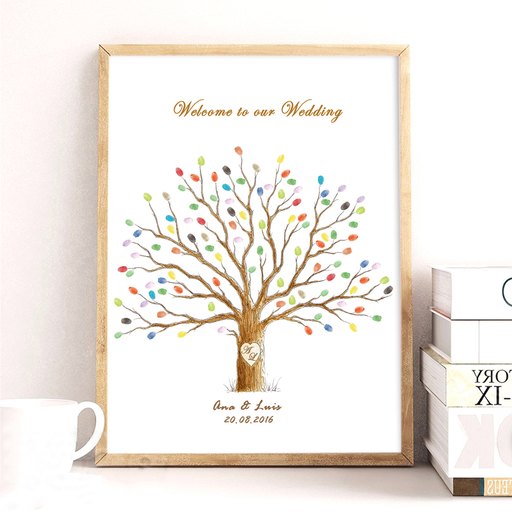 Wedding Tree,Canvas Print DIY Fingerprint Signature Guestbook For Wedding Baby Shower Birthday,Custom Name Date Party Decor