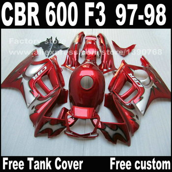 Custom free Motorcycle parts for HONDA CBR 600 F3 fairings 1997 1998 CBR600 F3 97 98 all red body repair fairing kit  T9