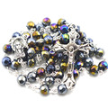 AB coated faceted crystal bead religious rosary catholic rosary necklace