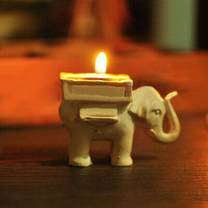 Image 2 - Ретро подсвечник в виде слона для чая, Керамический Свадебный домашний декор цвета слоновой кости