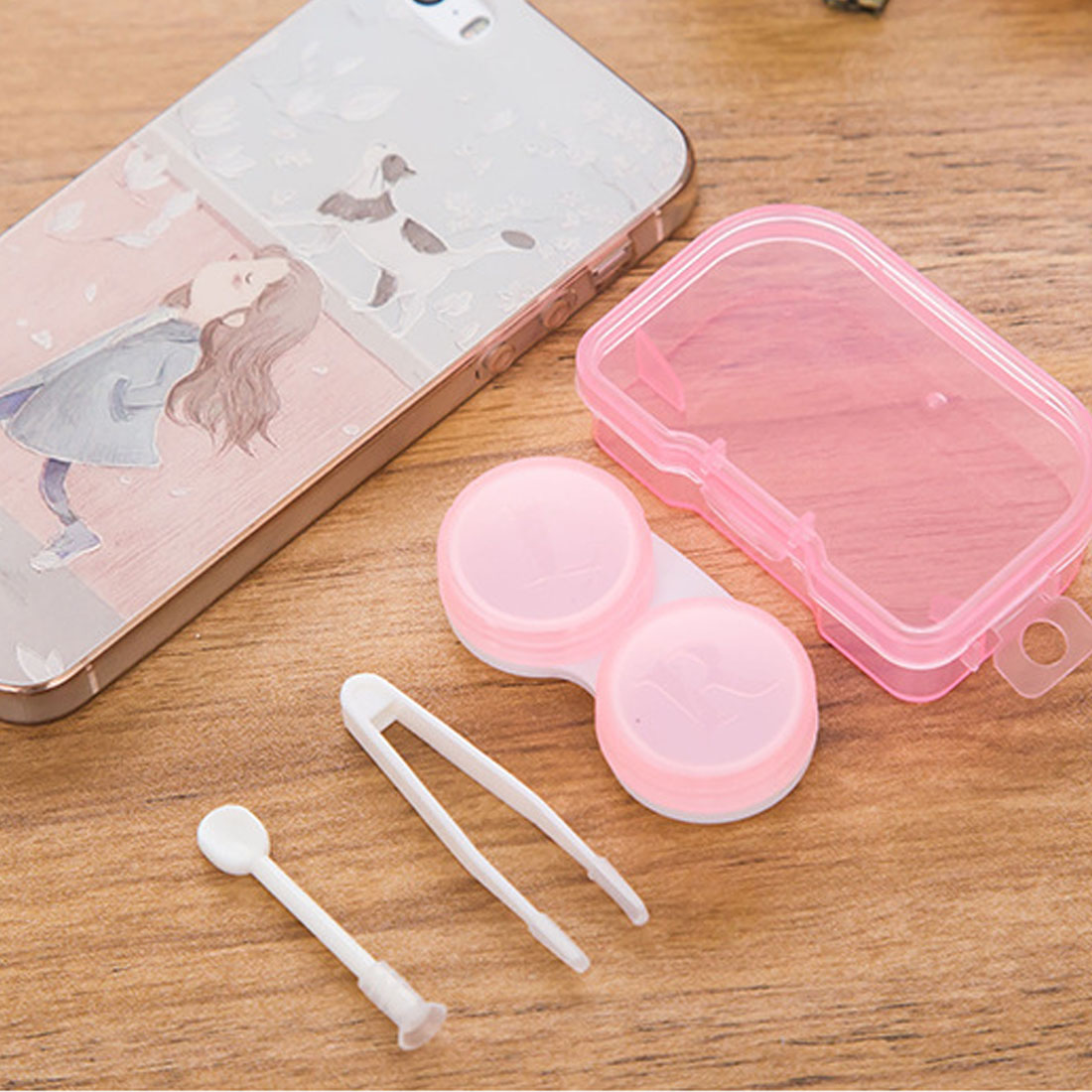 HOT Random Color 1 Piece Best Transparent Pocket Plastic Contact Lens Case Travel Kit Easy Take Container Holder