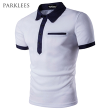 Фотография Polo Shirt Men Polo Homme 2017 Patchwork Single Breasted Mens Polo Shirt Short Sleeve Turn Down Collar Slim Fit Camisas Polo XXL