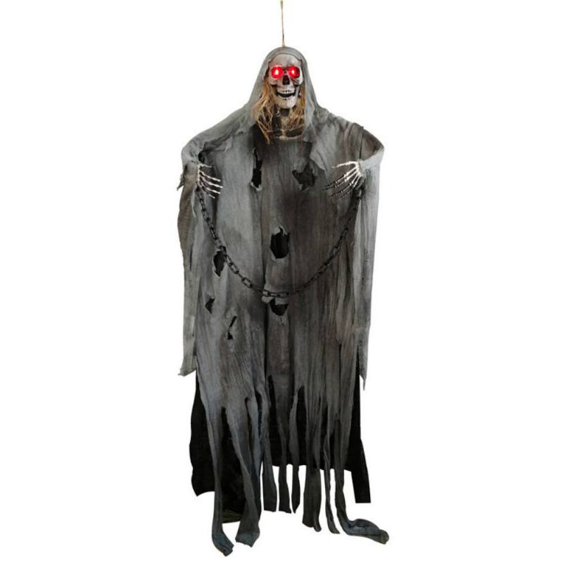 Light up Eyes Hanging Black Face Ghost Haunted House Escape Horror Props Halloween Decorations Hanging Horror