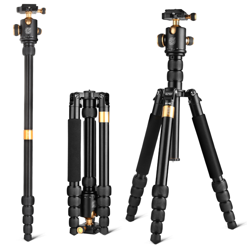2018 Hot QZSD Q668 Camera Tripod 61 Inch Aluminum Compact Tripod with Ball Head Quick 1/4 Release Plate DSLR Tripod Monopod entity assorted white tips 500 шт