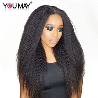 Kinky Straight Wig 360 Lace Frontal Wig Pre Plucked With Baby Hair 180 Density Glueless Full Ends Lace Wig You May Remy Hair