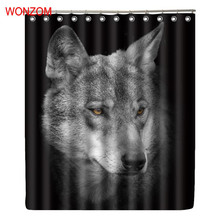 WONZOM Wolf Shower Curtains with 12 Hooks For Bathroom Decor Modern Animal Bath Waterproof Curtain Gift