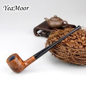 Image 4 - Briar en bois, filtre de 3mm fait à la main pour Pipe à fumer, 17cm de Long, tube de tabac droit, ensemble doutils gratuits