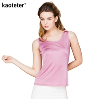 100 Real Silk Women Tank Tops Round Collar Vest T Shirt Tops Sleeveless Candy Color Solid