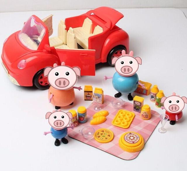 2.17 cerdo Rosado Un coche nuevo con un conjunto de vajilla aperitivos plástico bebé Pepeed cerdo muñeca regalo de cumpleaños del juguete del miembro de la familia a