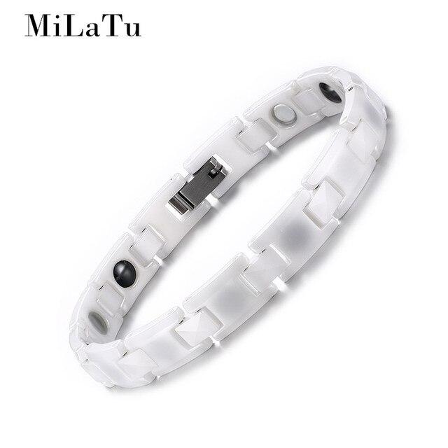 MiLaTu Fashion White Ceramic Bracelet Bangle For Women Magnetic Healthy Bracelet Hematite Stone Bracelet Women Jewelry B155
