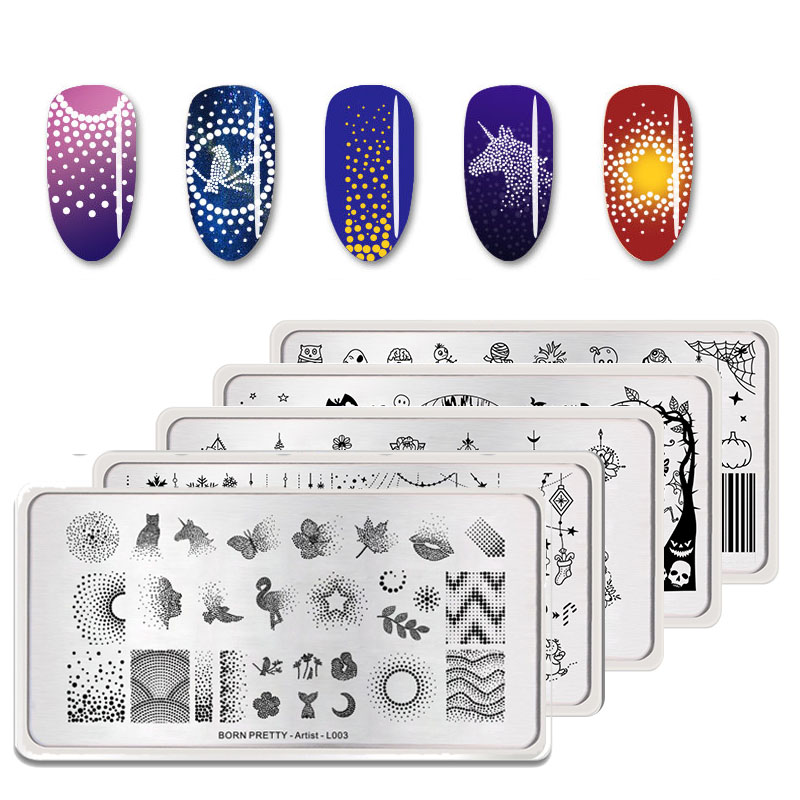 BORN PRETTY Nail Stamping Plates Flamingo Nail Template Mandala Maple Leaf Stamp Nail Art Stamp Image Template