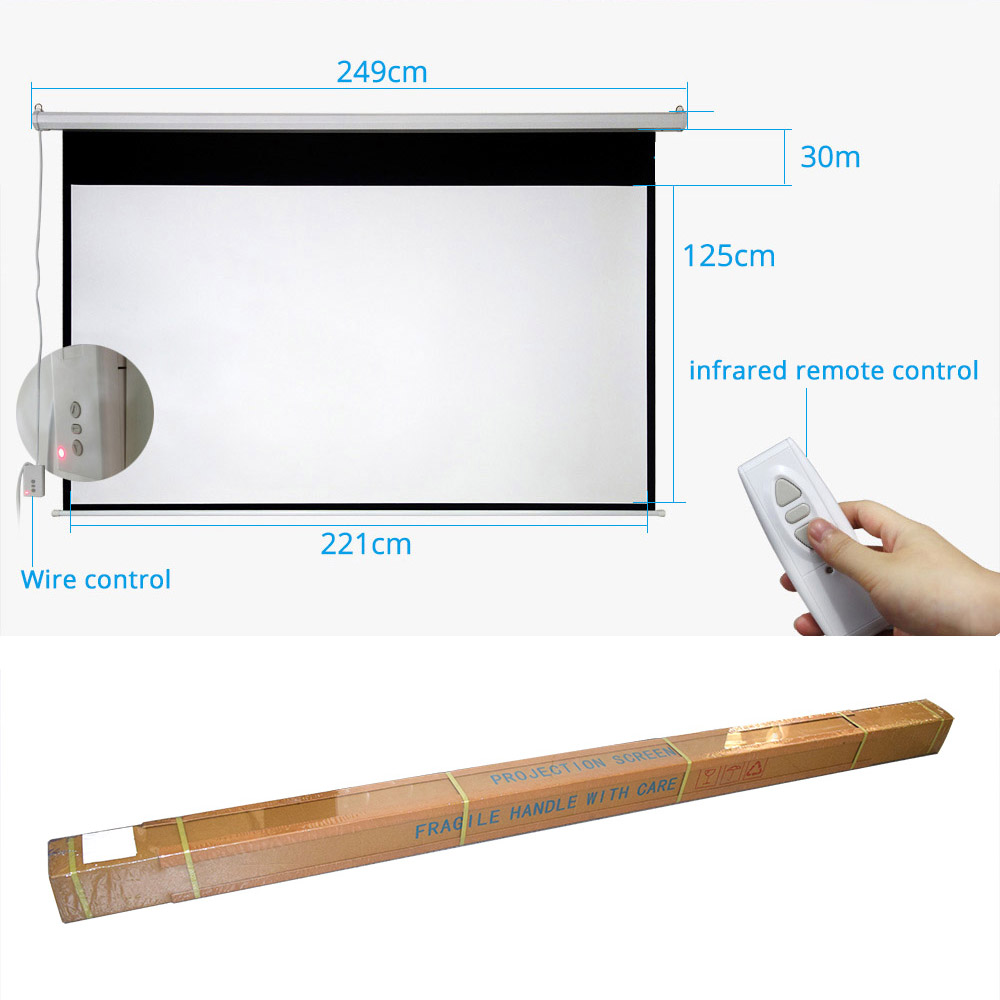 ThundeaL 100 pouces 16:9 écran de projecteur électrique Home cinéma école de commerce Bar LED motorisé DLP écran de Projection électrique - 2