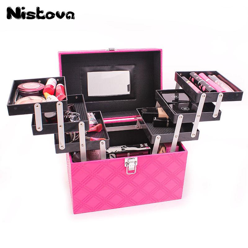 все цены на Professional Makeup Train Case Large Make Up Artist Organizer Kit, 6 Trays & Key Lock - Women Cosmetic Organizer Makeup Case онлайн