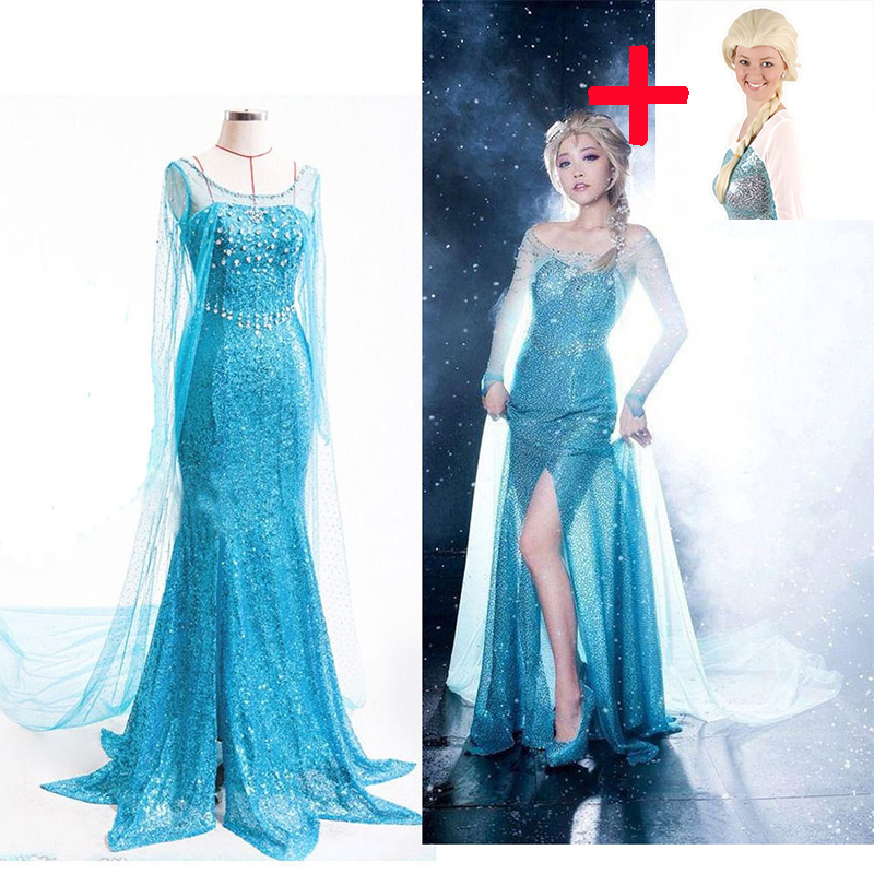 Elsa Adult Cosplay Costume Princess Elsa Princess Women Cocktail Dress Costume Elsa Dress Blue Cosplay Dress Halloween Dress/wig