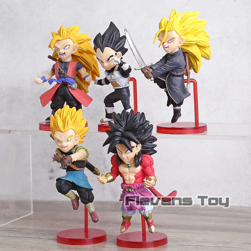 Super Heróis Mundo Coleccionáveis Figura WCF Dragon Ball Super Saiyan Goku Gotenks Broly Trunks Vegeta Figuras Brinquedos 5 pçs/set