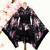 Cute Lolita Cherry Blossoms Flower Kimono Uniform Meidofuku Maid Dress Outfit Cosplay Costumes S 3XL