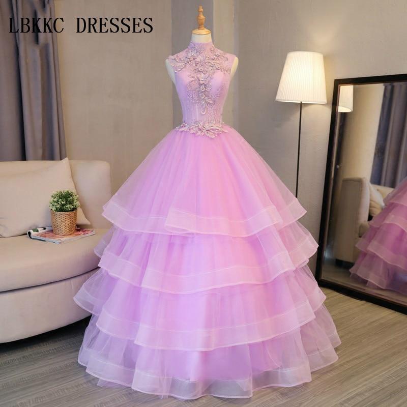 5785f42f19aa3a1 Романтический Высокая средства ухода за кожей Шеи лиловые праздничные платья  спинки принцесса Пышное Бальное Платье сладкий