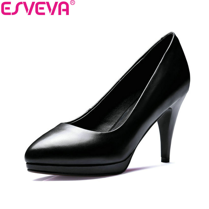 ESVEVA 2018 Women Pumps Sexy Thin High Heel Slip on Handmade Western Style Party PU+Cow Leather Office Ladies Shoes Size 34-39 plus large size spring office women pumps glitter pu leather thin spike high heel stiletto sexy autumn party gold ladies shoes
