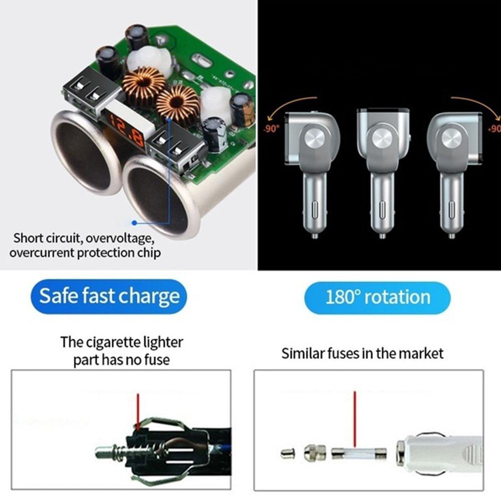 5 V/2.4A 3A DC12/24 V Автомобильный Запчасти& Аксессуары для автомобильного зарядного устройства Поворотный Автомобильный прикуриватель адаптер Универсальный Напряжение обнаружения