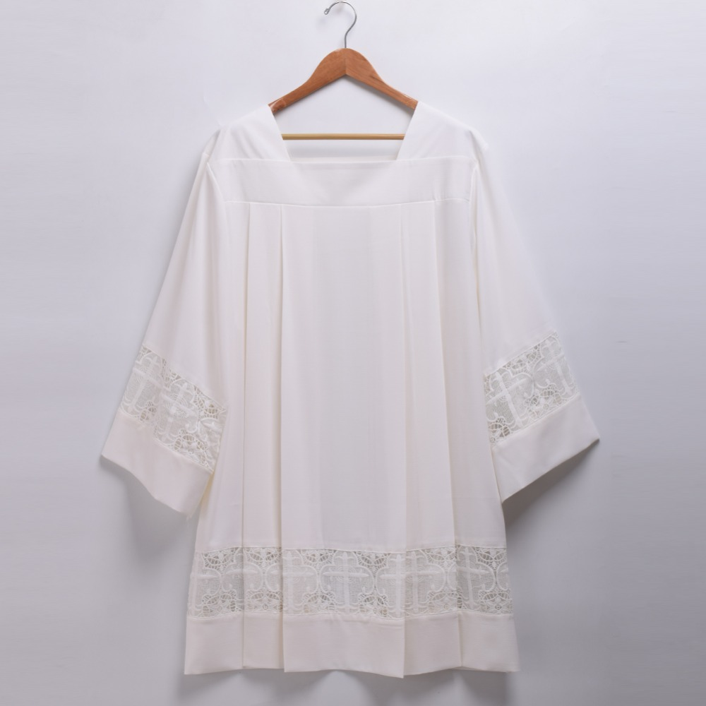 Église catholique messe surplis liturgique Cotta vêtement col carré Latin croix Robe - 3