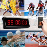 6 Digits Wall LED Countdown Clock IR Remote Display Board Gym Fitness Training Count Up Countdown Timer For Escape School Speech