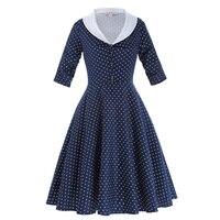Belle Poque A line Casual Swing Vestidos 3/4 Sleeve 2018 Summer Dresses Casual Lapel Collar Polka Dots Navy Blue Beach Sundress