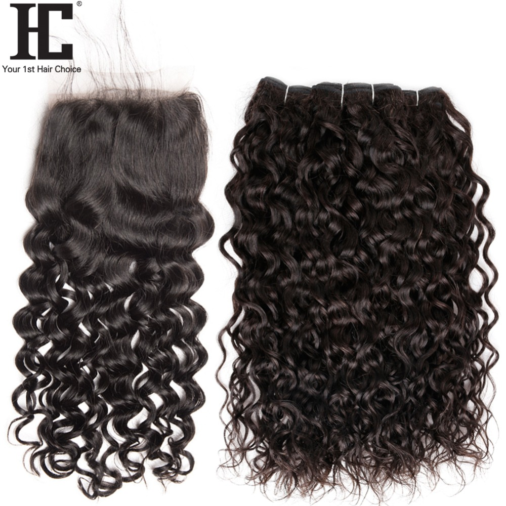 HC 4 PCS LOT Brazilian Water Wave Hair 3 Bundles With Closure 4x4 Non Remy Natural
