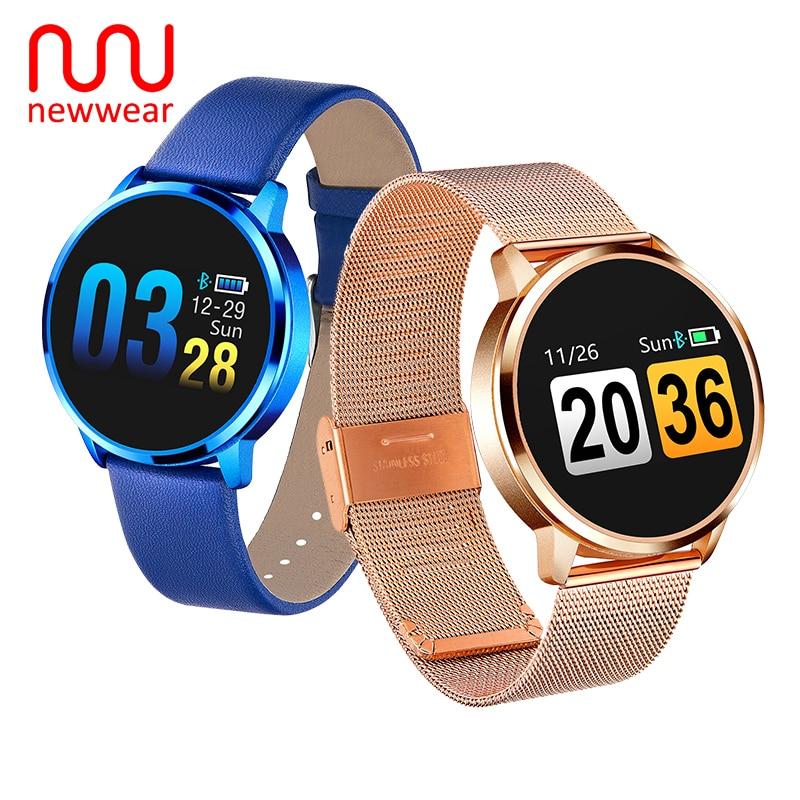 Ropa nueva Q8 OLED Bluetooth inteligente reloj de acero inoxidable resistente al agua Dispositivo de vestir reloj inteligente reloj de pulsera de las mujeres de los hombres Fitness Tracker