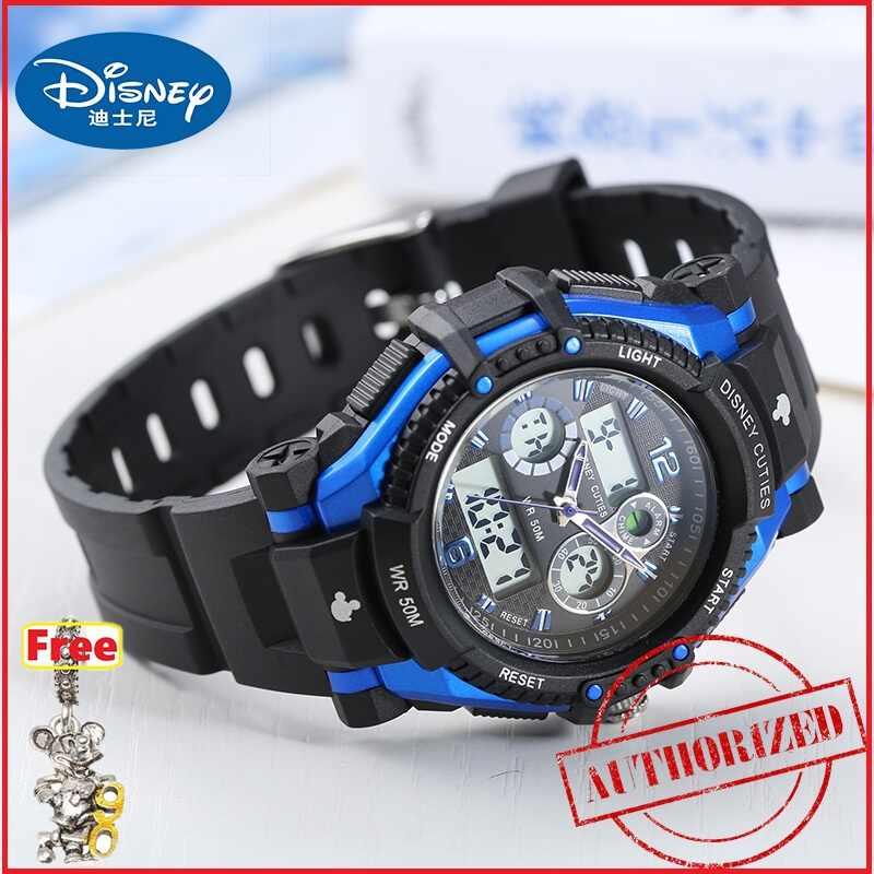 Детские спортивные многофункциональные часы disney для мальчиков и девочек, как 5 АТМ, водонепроницаемые резиновые светодиодный круглые часы, Детские Кварцевые часы с Микки