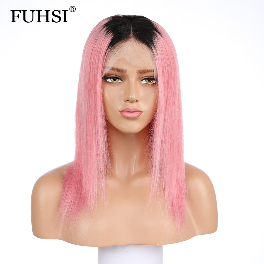 13x4 Ombre Brazilian Human Hair Lace Front Wigs For Black Women 1b/pink 2 Tone Remy Hair Straight Lace Wig Pre Plucked 130 Structural Disabilities