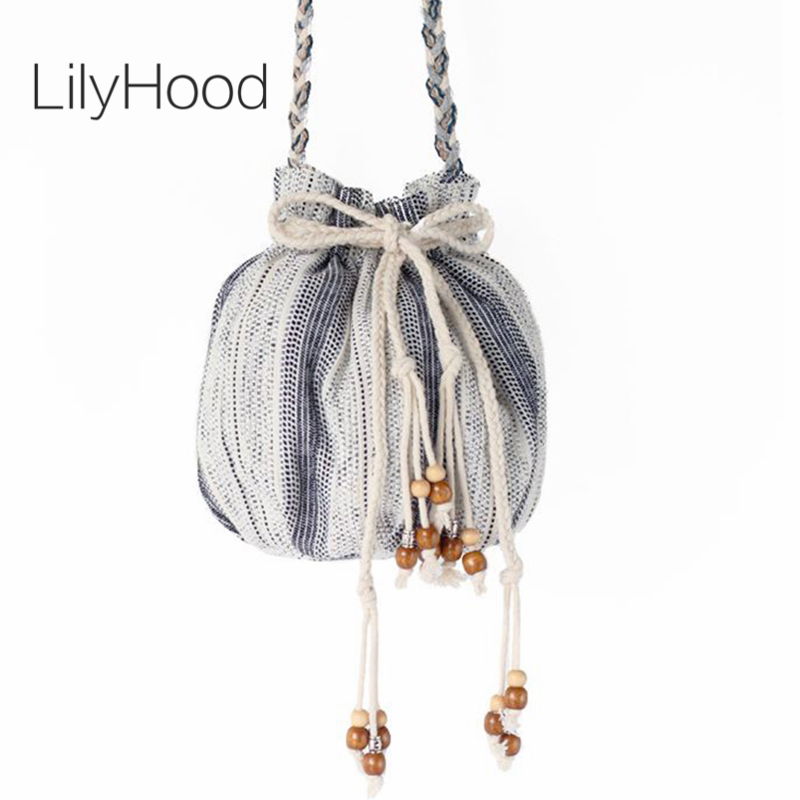 LilyHood Handmade Women Fabric Shoulder Bag Summer Tribal Gypsy Hippie Ibiza Bohemian Boho Chic Beads Small Bucket Crossbody Bag genuine leather suede vintage bohemian fringe messenger crossbody bag purse women tassel boho hippie gypsy fringed handbag women