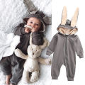 New Infant Baby Girl Boy 3D Ear Cotton Warm Hooded Long Sleeve Zipper Romper Jumpsuit Outfits Costume