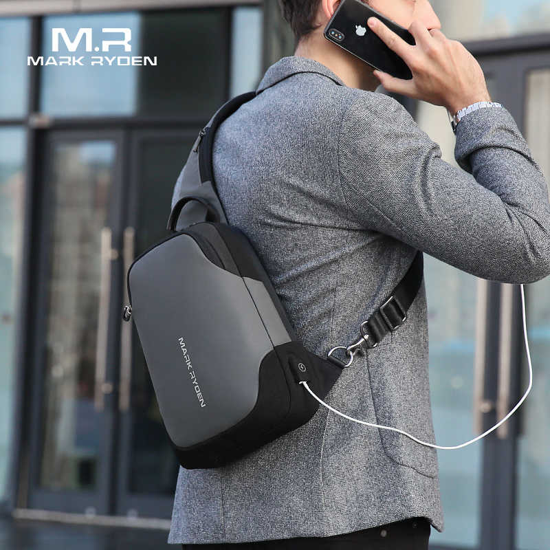 Mark Ryden New Anti-thief Crossbody Bag Waterproof Men Sling Chest Bag Fit 9.7 inch Ipad Fashion Shoulder Bag
